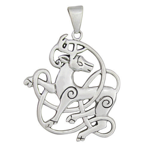 Sterling Silver Celtic Knot Stag Pendant - The Eccentric Muse