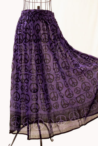 Purple Tie-Dye Gauze Peace Sign Skirt - The Eccentric Muse