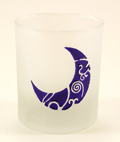 Crescent Moon Etched Glass Votive Candle Holder - The Eccentric Muse