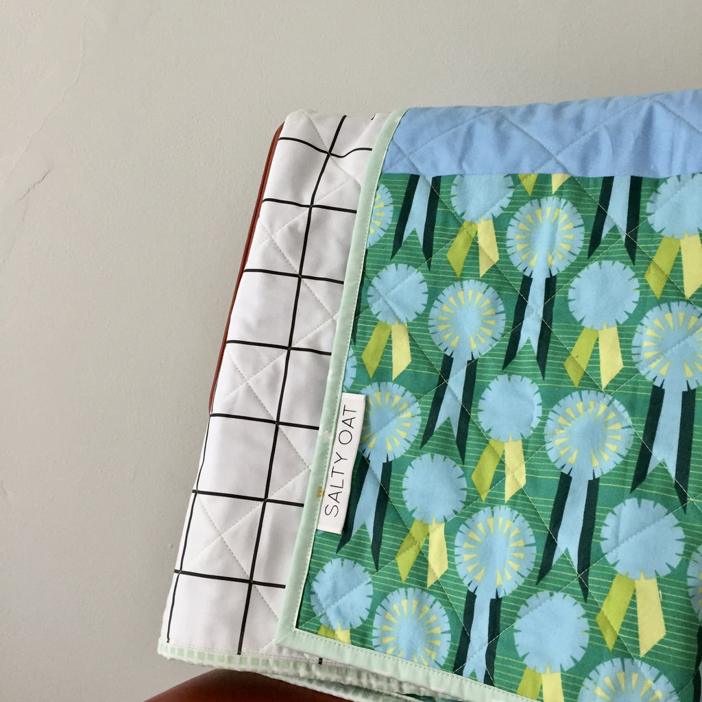Windowpane Whole Cloth Baby Quilt Salty Oat