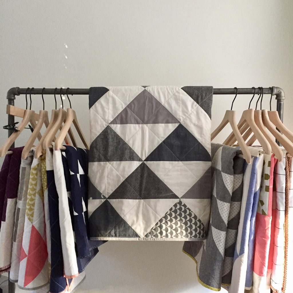 gray + cream flying geese baby quilt