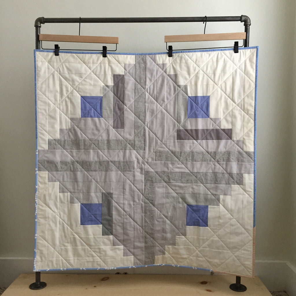 neutral log cabin baby quilt