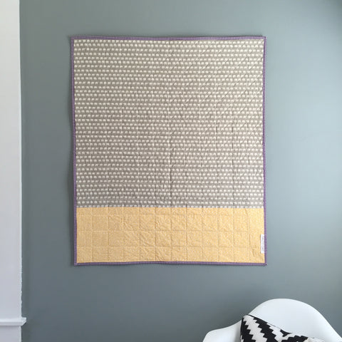 Yellow-and-White Whole-Cloth Quilt Back by Salty Oat
