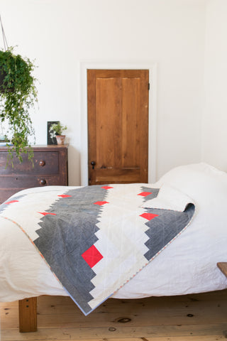 Polka Dot Chambray Log Cabin Quilt by Salty Oat