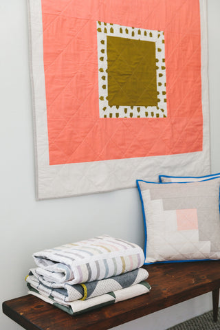 Detail of Quilts and Pillows by Salty Oat
