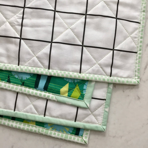 Quilting Detail on Windowpane Whole-Cloth Quilt