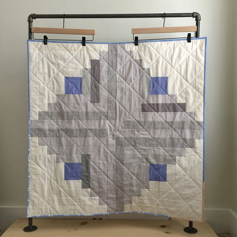 Neutral Log Cabin Baby Quilt by Salty Oat
