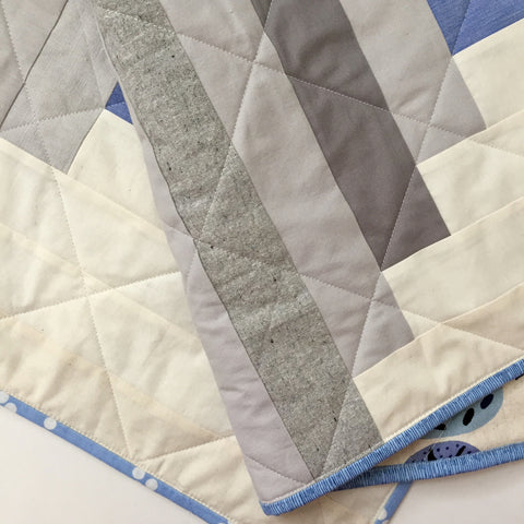 Detail of Neutral Log Cabin Baby Quilt by Salty Oat