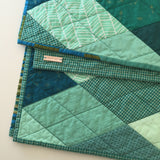 Teal-and-Mint Diamond Small Throw Quilt