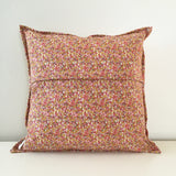 Pink-and-Mustard Quilted Throw Pillow