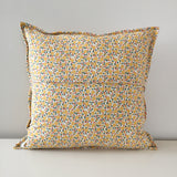 Mustard-and-Gold Quilted Throw Pillow