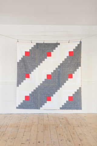 Polka-Dot Chambray Log Cabin Throw Quilt