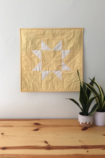 Yellow Sawtooth Star Wall Quilt