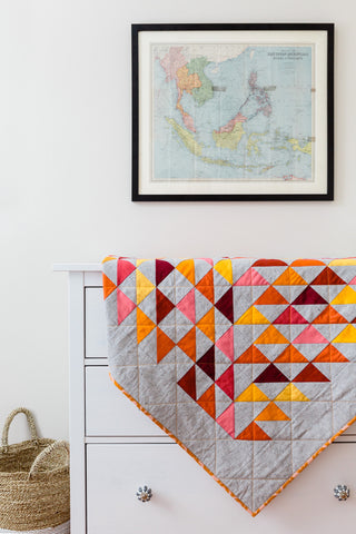 Warm Half-Square Triangle Throw Quilt