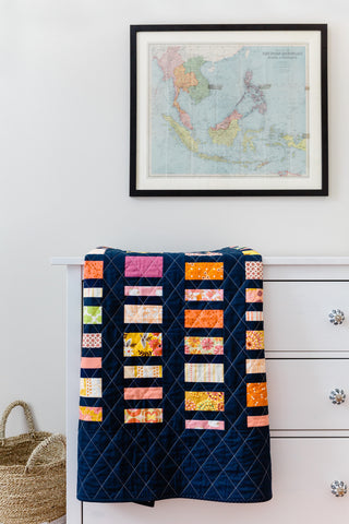 Navy Scrappy Coin Quilt