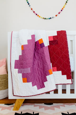 Red-and-Purple Log Cabin Throw Quilt