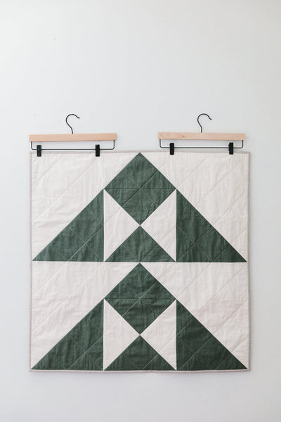 Hunter Green Hill-and-Valley Baby Quilt
