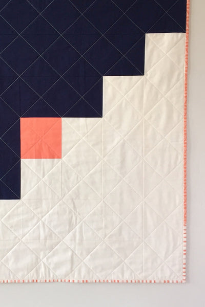 Navy-and-Coral Oversized Log Cabin Baby Quilt