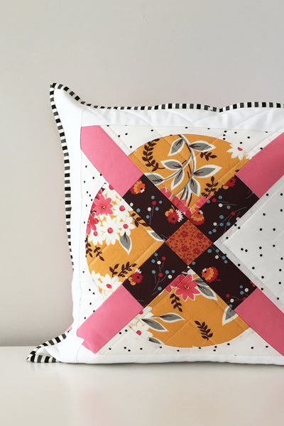 Modern Mustard-and-Pink Throw Pillow