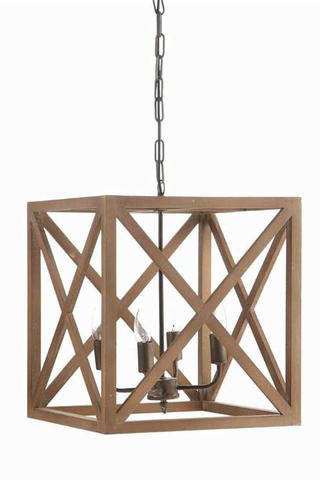 Square Pendant Chandelier with Metal and Wood