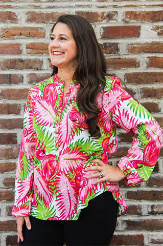 The Perfect Flamingo Button V Blouse