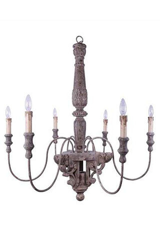 Chateau Chandelier with Metal and Wood