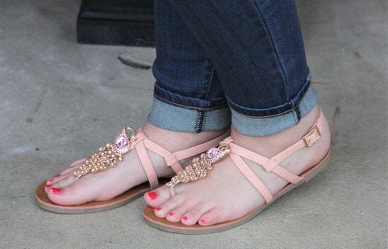 Blush Peacock Strap Sandals