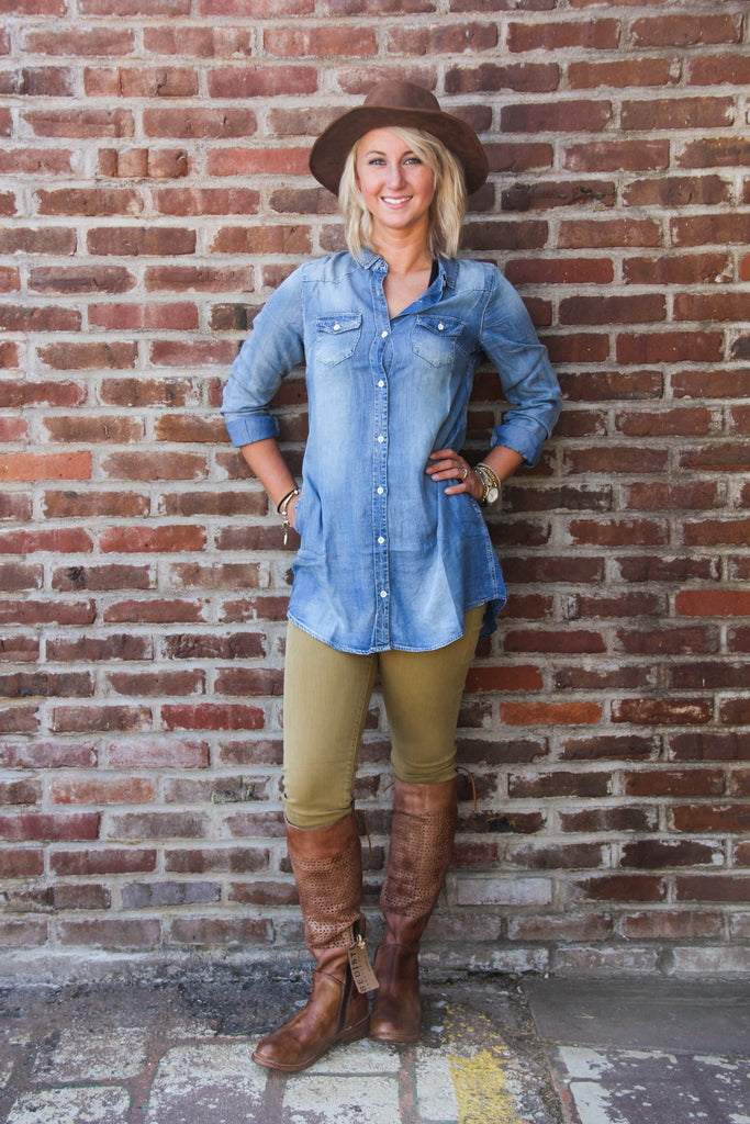 Chambray Tunic with Pockets