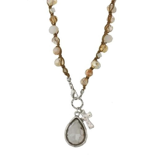 IVORY PEARL & GLASS CROCHET & OPEN CROSS CHARM NECKLACE (More Colors Available)