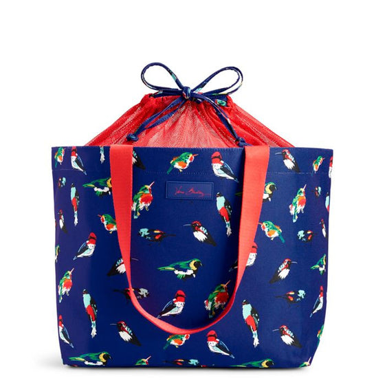 Drawstring Family Tote Mini Tody Birds Blue