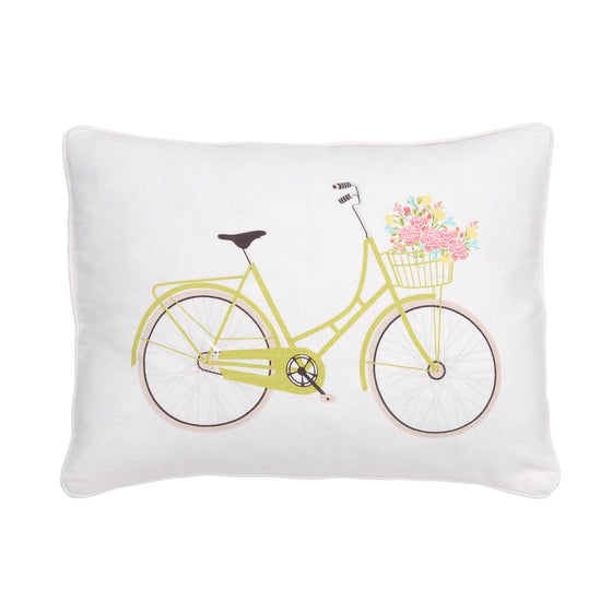Flower Basket Bicycle Accent Pillow