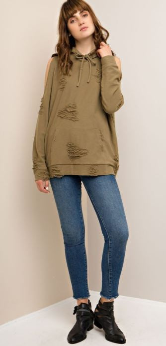 Olive Solid open-shoulder sweater top