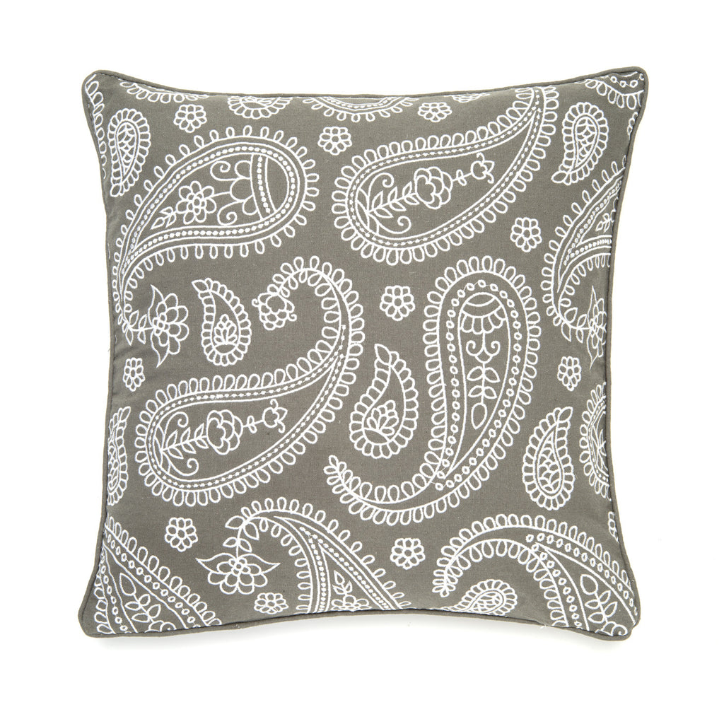 Paisley All Over Gray Accent Pillow