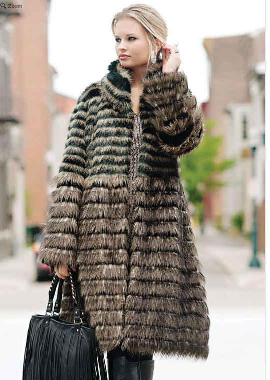 Horizontal Knee-Length Faux Fur Coat