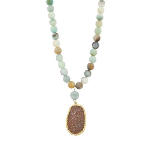 TAN ADJ CORD & SEA GLASS, JASPER NECKLACE + THIMBLE CLUSTER