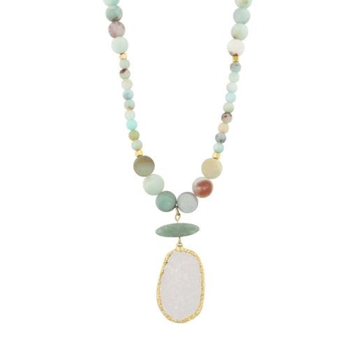 TAN CORD & AQUA BEADED NECKLACE + TAUPE ELECTROPLATED DRUZY