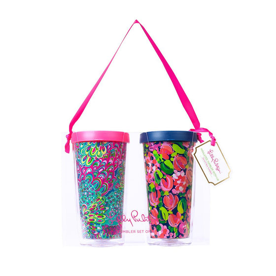Lilly Pulitzer Insulated Tumbler with Lid Set - Wild Confetti / Lilly's Lagoon
