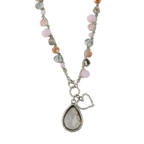 PINK & GREY GLASS CROCHET & HEART CHARM NECKLACE