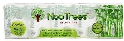 100% Virgin EcoLuxe Bamboo Pulp Pocket Tissues | 10 Packs | 2 ply | 90 wipes