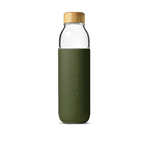 SOMA  glass water bottle | olive
