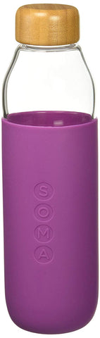 SOMA  glass water bottle | eggplant