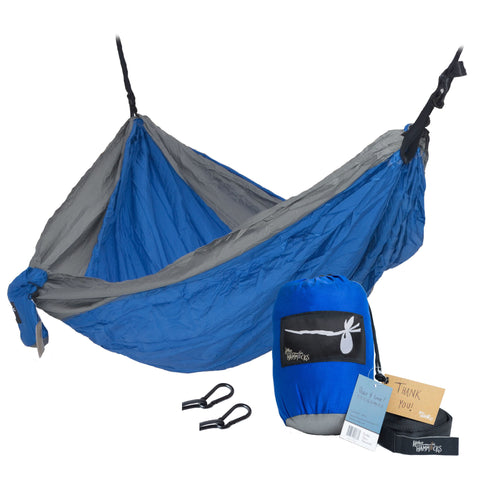 """Big Blue"" DOUBLE Hammock Gray and Ocean Blue"
