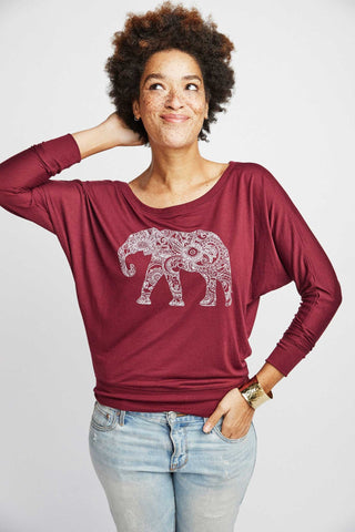 Magic Elephant Long Sleeve | Maroon
