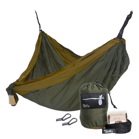 """Survivor"" DOUBLE Hammock - Green and Brown"