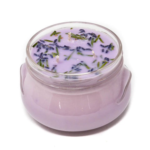 GLASS TUREEN JAR SOY CANDLE LAVENDER 10OZ