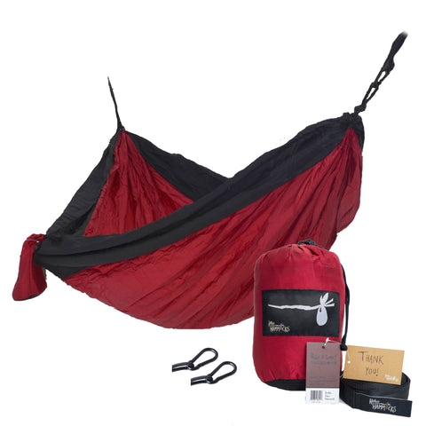 """The UTE"" DOUBLE Hammock - Black and Crimson Red"