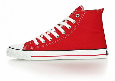 FAIR TRAINER WHITE CAP HI CUT CLASSIC CRANBERRY RED | JUST WHITE