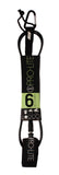 6'0 comp surf leash-black.