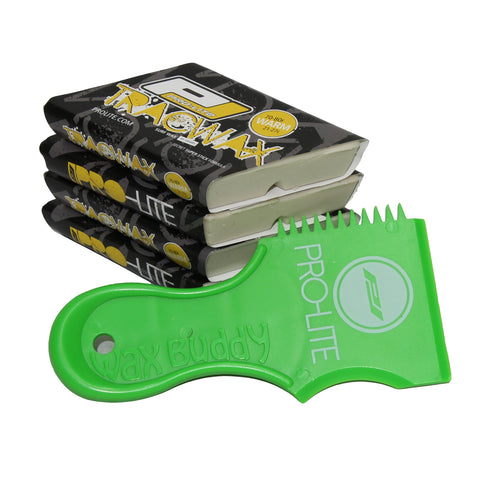 warm water surfboard wax pack with neon green comb