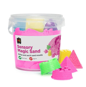 Sensory Magic Sand with Moulds 600g Tub | Pink - Lexi & Me